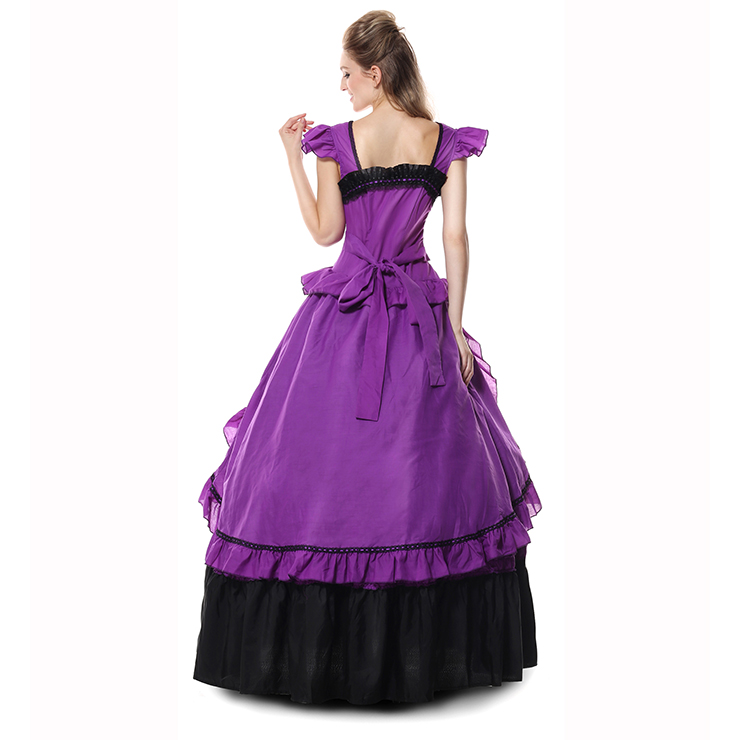 Victorian Gothic Period Purple Costumes, Prom Gown Reenactment Theatre Clothing, Victorian Gothic Lolita Ball Prom Gown, #N9305