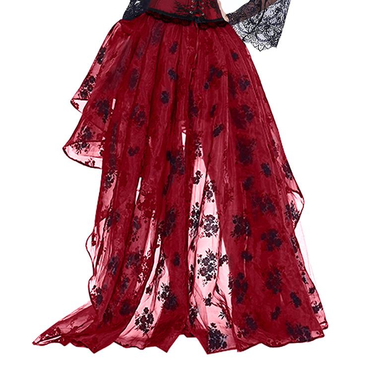 Steampunk Skirt, Satin Skirt for Women, Gothic Cosplay Skirt, Halloween Costume Skirt, Plus Size Skirt, Pirate Costume, Elastic Skirt, #N14919