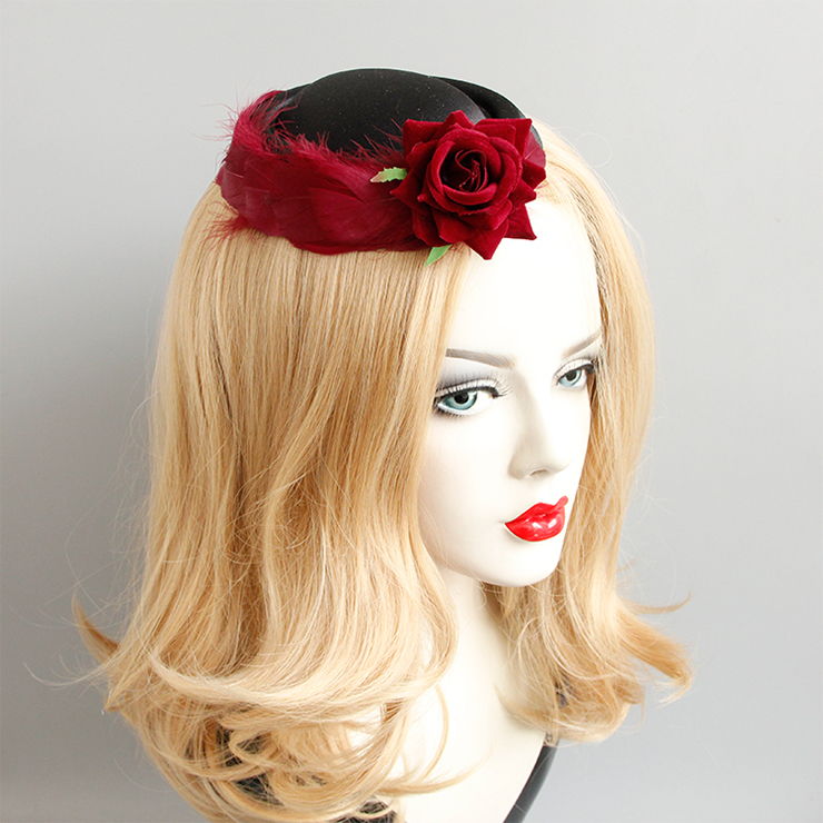 Retro Fancy  Felt Hat Hair Clip, Party Hairpin, Fashion Ball Hair Accessory, Fancy Victorian Style Fascinator Hair Clip, Vintage Red Rose Hairpin for Women, Gothic Style Hair Clip, #J18796