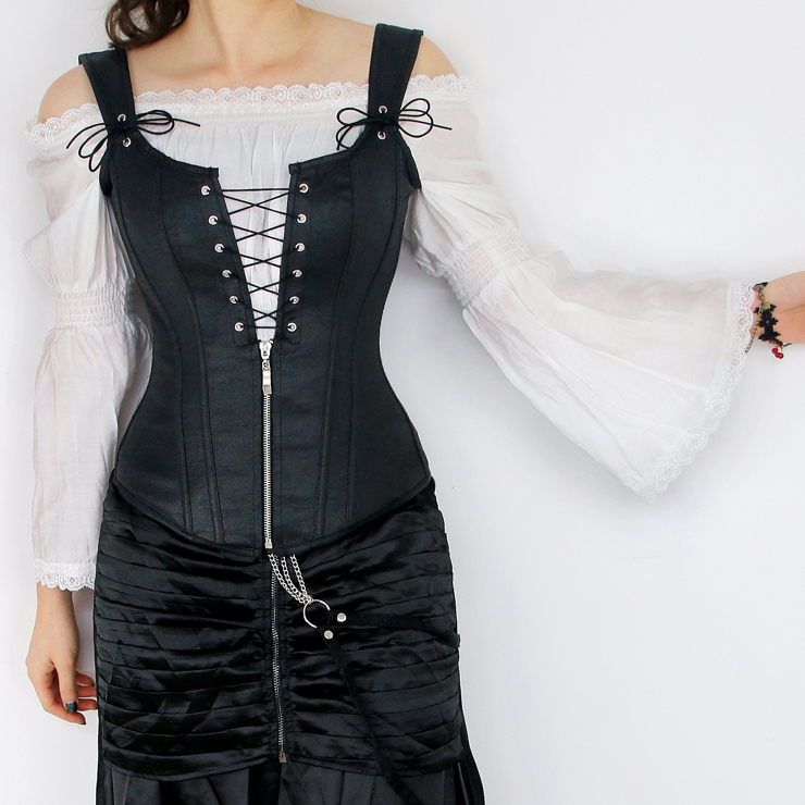 Victorian Ruffle Off Shoulder Lace Blouse Top Tunic with Punk Faux Lace Up Vest Corset N13071