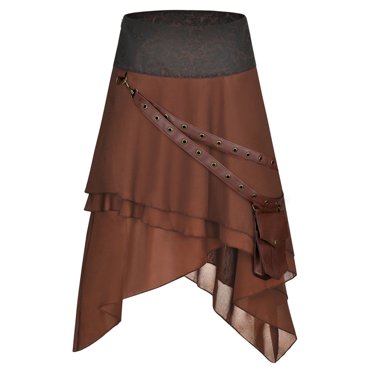 Victorian Gothic Multi-layered Asymmetrical Hemline High Waist Skirt with PU Leather Pocket Belt Set N18792
