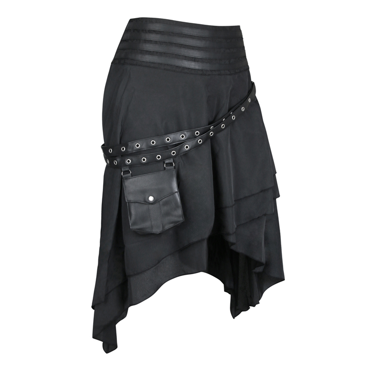 Steampunk Skirt, Gothic Cosplay Skirt, Halloween Costume Skirt, Pirate Costume, Elastic Skirt, Short Front Ruffle Skirt, Gothic High-low Skirt, #N19281