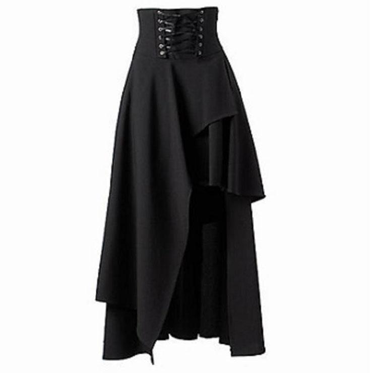 Victorian Steampunk Gothic Vintage Pure Black Band Waist Skirt N12870