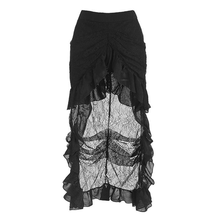 Victorian Steampunk Gothic Black Elastic Skirt N12871