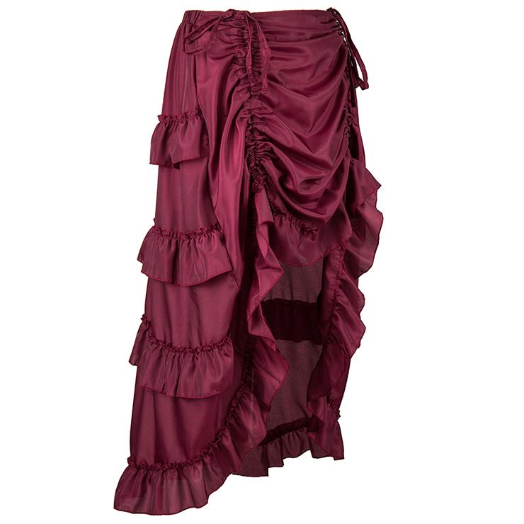 Steampunk Skirt, Gothic Cosplay Skirt, Halloween Costume Skirt, Pirate Costume, Elastic Skirt, Short Front Ruffle Skirt, #N15064