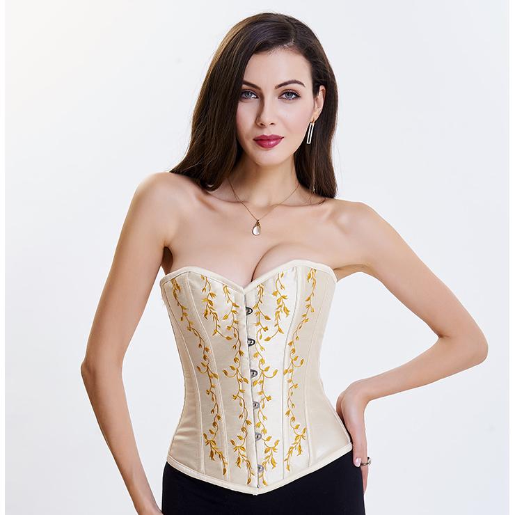 4765322d56 Women s Victorian Sweetheart Neck 14 Steel Boned Embroidery Overbust Corset  N14696