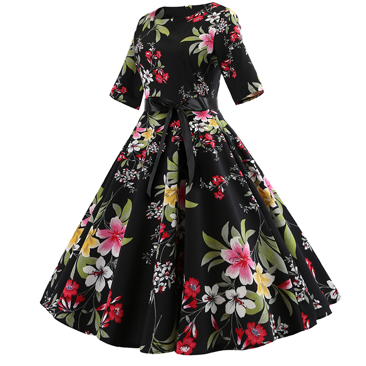 7bfebc67839 Vintage Floral Print Round Neck High Waist Half Sleeves Midi Swing Dress  N18589
