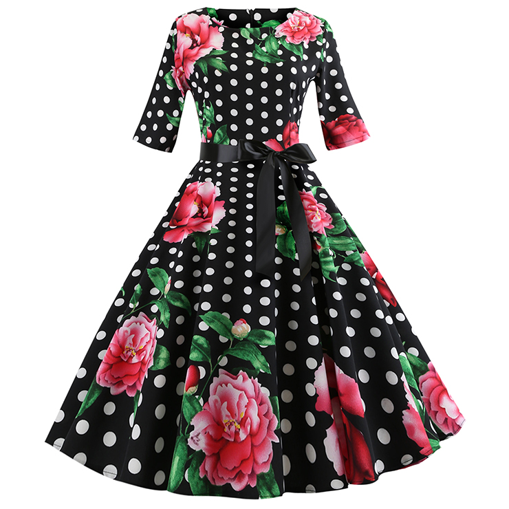 Vintage Peony and Polka Dots Pattern Round Neck High Waist Half Sleeves Midi Swing Dress N18590