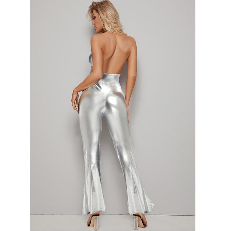 Jumpsuit Silver, Vinly Jumpsuit, Silver Jumpsuit, #N1284