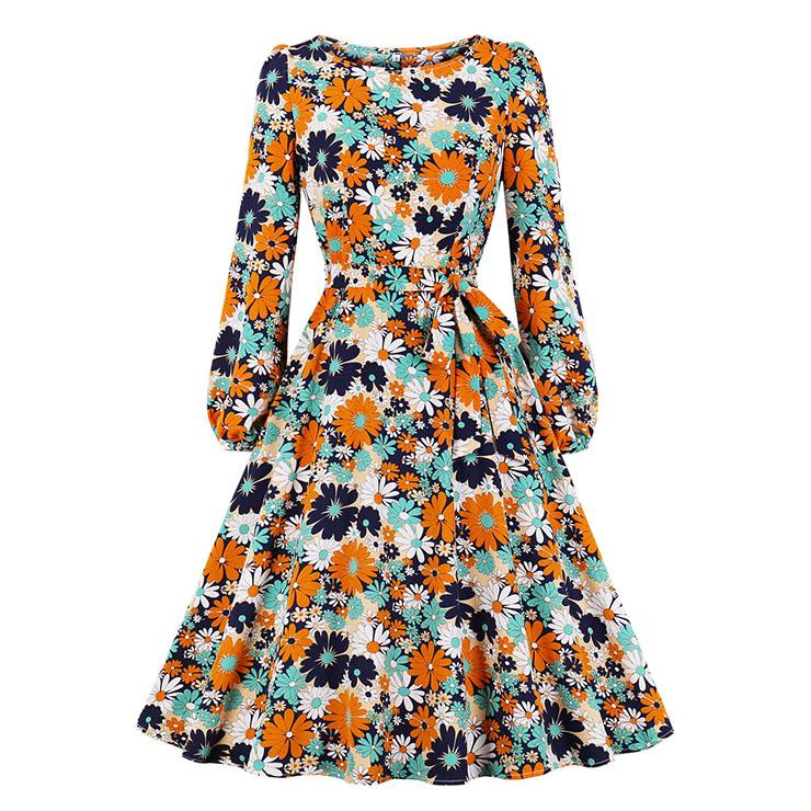 Vintage Round Neck Long Sleeve High Waist Lacing Daisy Print Autumn Swing Dress N20773