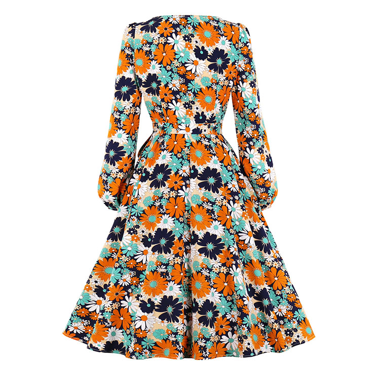 Sexy A-line Swing Dress, Fashion Dresses for Women, Cocktail Party Dress, Fashion Long Sleeve Swing Dresses, A-line Casul Dresses, Round Neck High Waist Dress, Printed A-Line Dress, #N20773