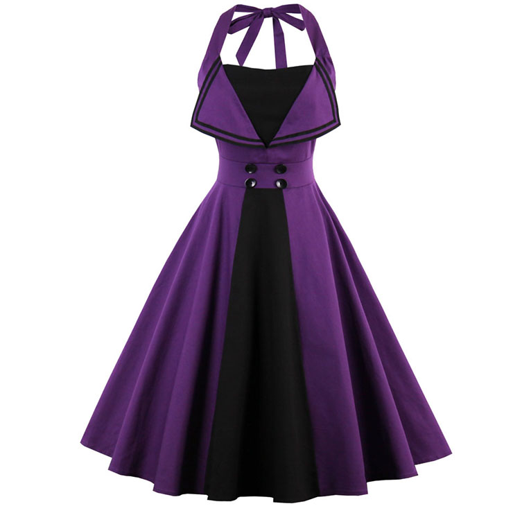 Women's Retro Summer Backless Halter Swing Dress N13058