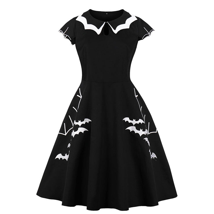 Fashion Vintage Bat-Shaped Neckline Short Sleeve Bat Style Embroidery High Waist A-Line Swing Dress N17746