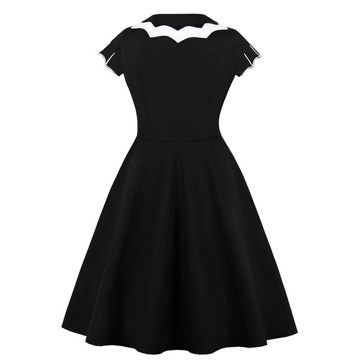 Retro Dresses for Women, Fashion Vintage Short Sleeve Dresses, Vintage Dress for Women, Bat Style Embroidery Dress, Cocktail Party Vintage Dress, #N21347