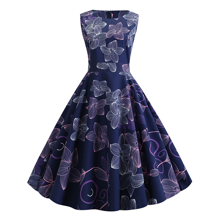 Vintage Floral Print Round Neck Sleeveless High Waist Belt Party Big Swing A-line Dress N20457