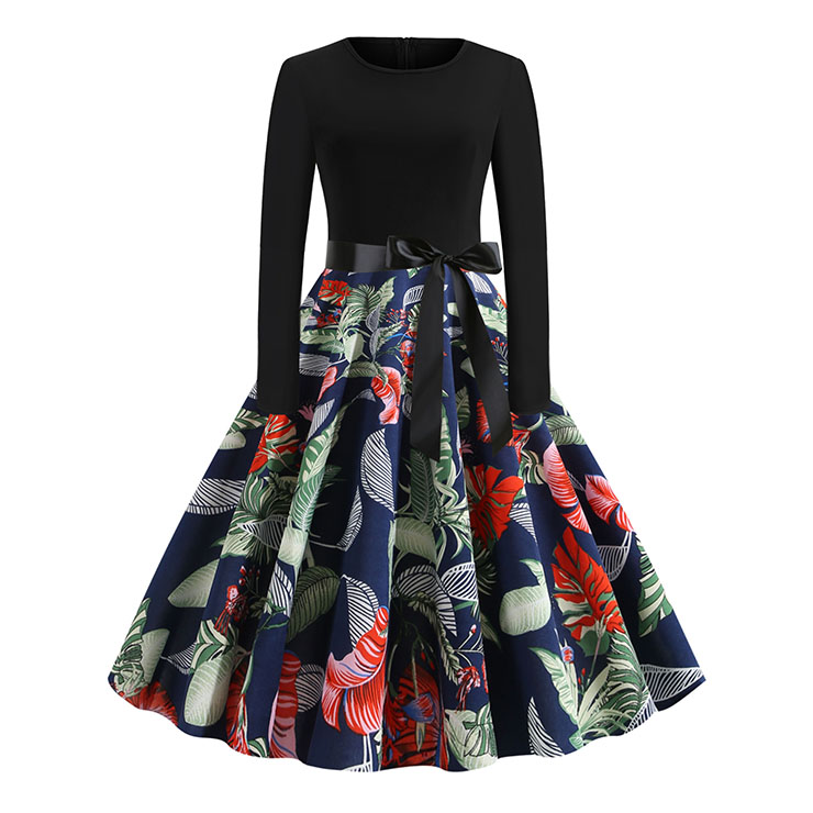 Vintage Leaves Flowers Print Splice Long Sleeve High Waist Belted Midi Dress N20325