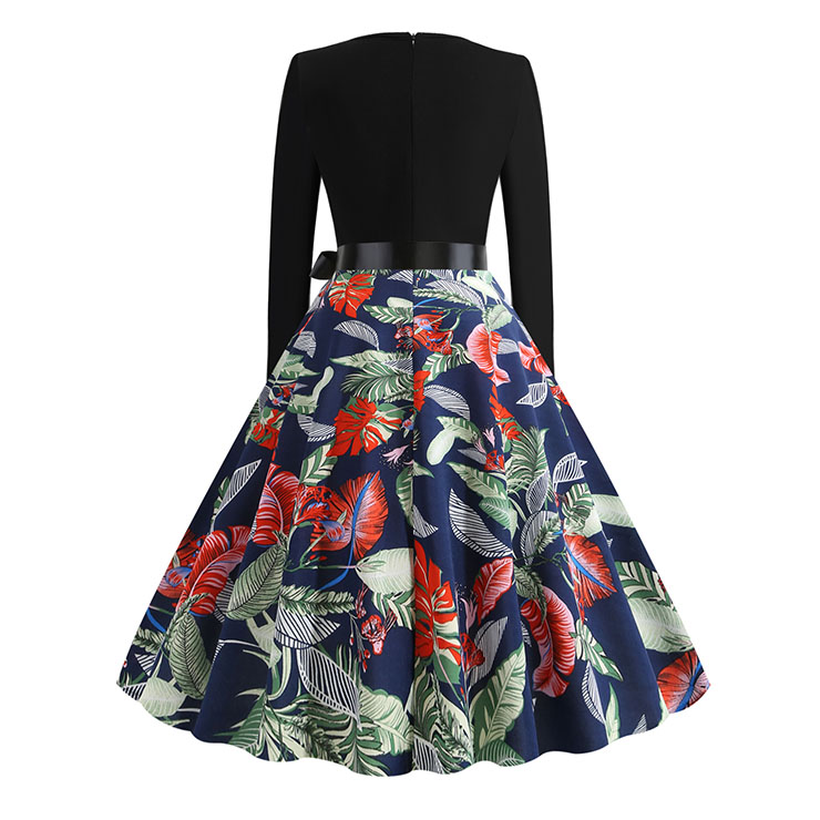 Vintage Dress for Women,Elegant Black Party Dress,Casual Midi Dress,Sexy Dresses for Women Cocktail Party,Long Sleeves High Waist Swing Dress,Printed Dress,Splice Dress,Round Neck Belt Big Swing Dress,#N20325