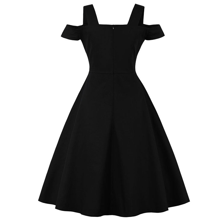Vintage Dresses for Women, Sexy Dresses for Women Cocktail Party, Casual  Cold Shoulder Dress, 50s Black Swing Daily Dress,  Cold Shoulder Swing Party Dresses, #N15996