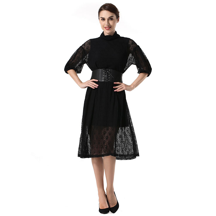 Noble Black Sheer Floral Lace Turtleneck Bishop Sleeves High Waist Party Midi Dress N18768