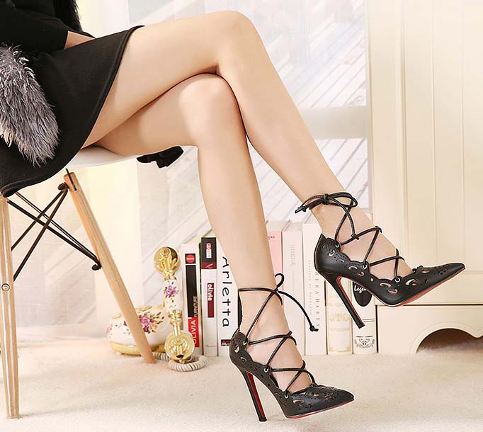 4f25bb6e31da Vintage Black Hollow Out Design Pointed Toe Lace-up High Heels SWS20341