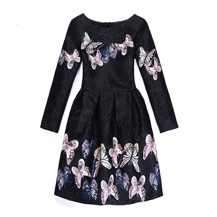 f888888ada44c Girl's Vintage Black Long Sleeve Round Collar Cute Butterfly Pattern A-Line  Dress N15521