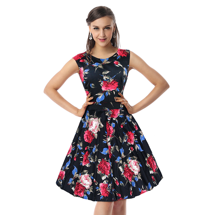Elegant 1950's Vintage Floral Print Sleeveless Casual Cocktail Party Swing Dress N11520