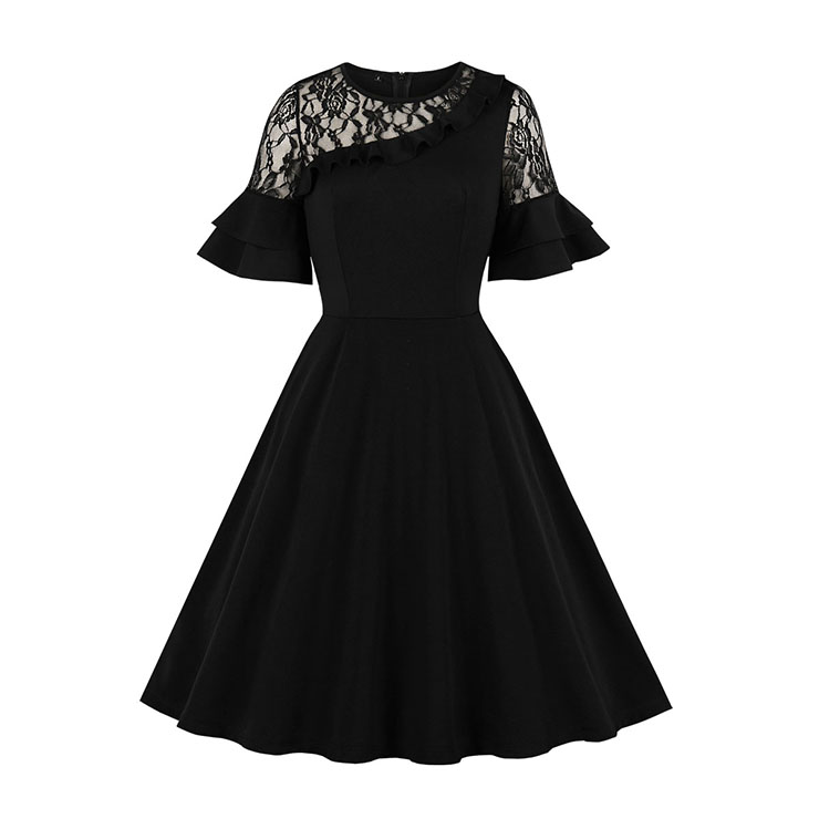 Sexy Black Sheer Lace Spliced Ruffle Trim Flared Sleeve Party Midi Dress N19514