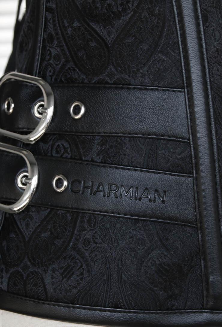 Black Steel Bone Corset, Vintage Embroidery Design Overbust Corset, Waist Cincher Training Corset, Sexy Body Shaper Outerwear Corset, #N10316