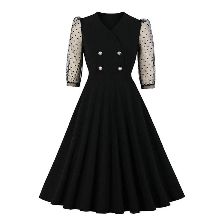 Sexy Black V Neckline Sheer Polka Dots Mesh 3/4 Sleeve High Waist Party Midi Dress N20831