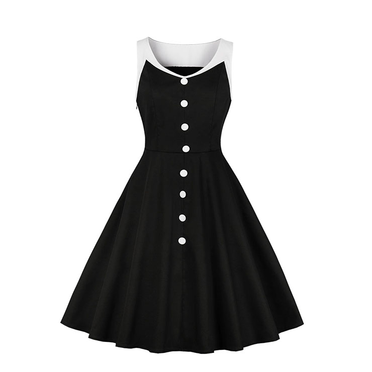 Vintage Black and White Patchwork V Neckline Sleeveless High Waist Midi Dress N18585