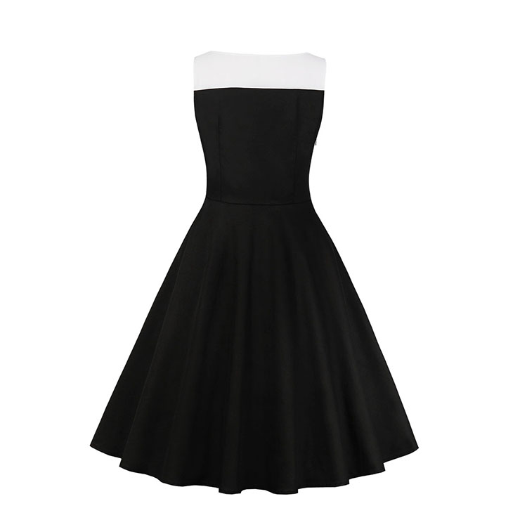Vintage Lapel Dress, Vintage Dresses for Women, Sexy Black Dresses for Women Cocktail Party, Vintage High Waist Dress, Sleeveless Swing Daily Dress, Vintage Black and White Swing Dress, #N18585