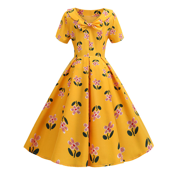 Vintage Floral Print Turn-down Bowknot Collar Short Sleeve Cocktail Party Swing Dress N20336