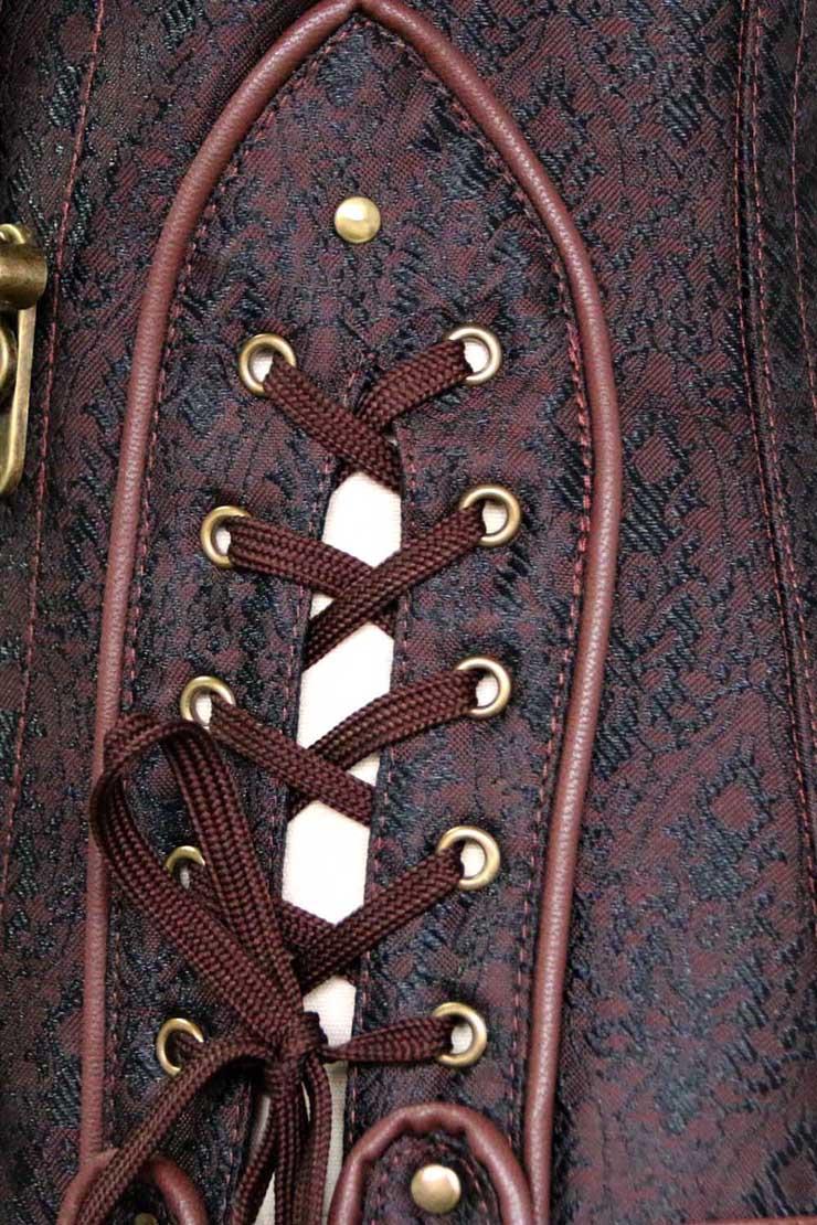Sexy Brown Underbust Corset, Steel Boned Corset, Cheap Waist Cincher Corset, Vintage Jacquard Underbust Corset, #N10634
