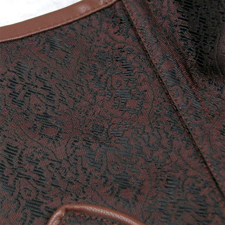 Sexy Brown Underbust Corset, Steel Boned Corset, Cheap Waist Cincher Corset, Vintage Jacquard Underbust Corset, Steampunk Corset, Steel Boned Waist Cincher, #N19706