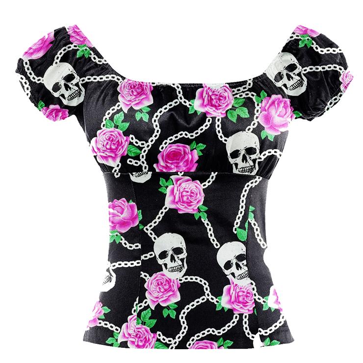 Vintage Casual Skull and Flower Print Short Sleeve Off Shoulder T-shirt N17144