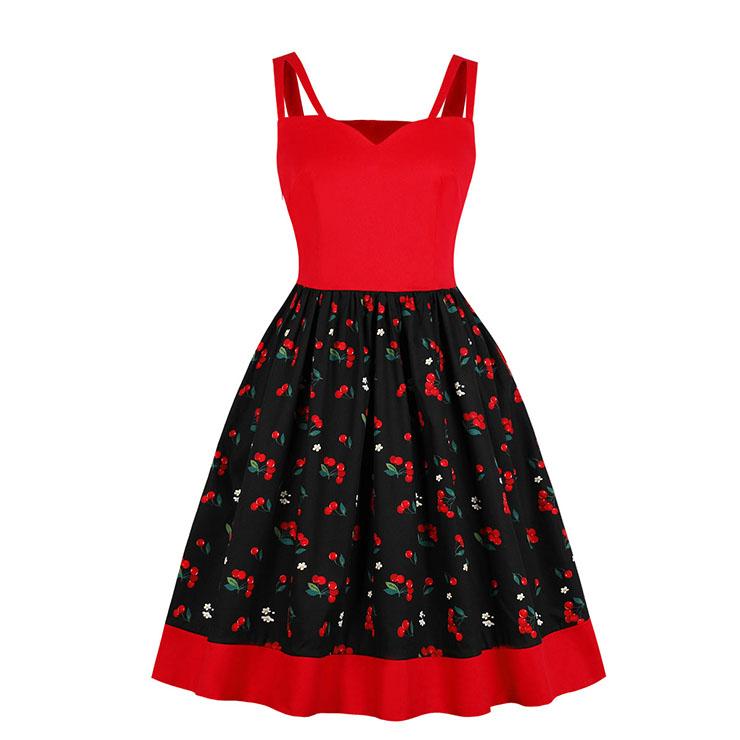 Vintage Cherry Pattern Spaghetti Straps Sweetheart Bodice Summer Swing Dress N18758