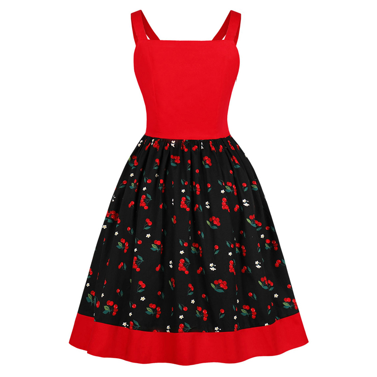 Cute Cherry Print A-line Swing Dress, Retro Cheery Print Dresses for Women 1960, Vintage Dresses 1950