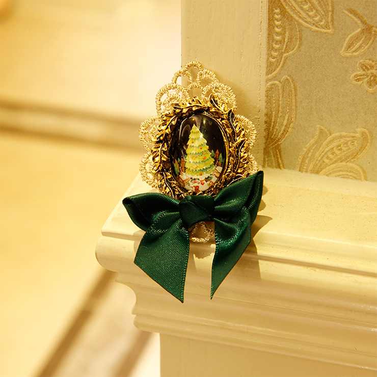 Vintage Christmas Tree Badge with Lace and Bowknot Brooch J18615