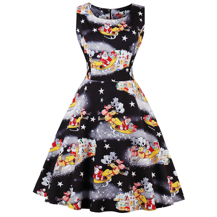 fashion bateau neck christmas santa print sleeveless vintage swing dress n15127