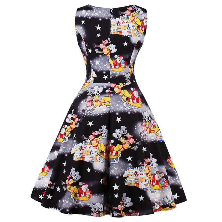 Vintage Dress for Women, Christmas Dresses for Women Cocktail Party, Casual Swing Dress, Sleeveless Swing Dress, Christmas Print Dresses, Christmas Party Dress, #N15127