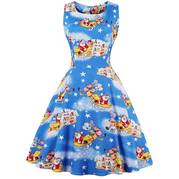 Fashion Bateau Neck Christmas Santa Print Sleeveless Vintage Swing Dress N15128