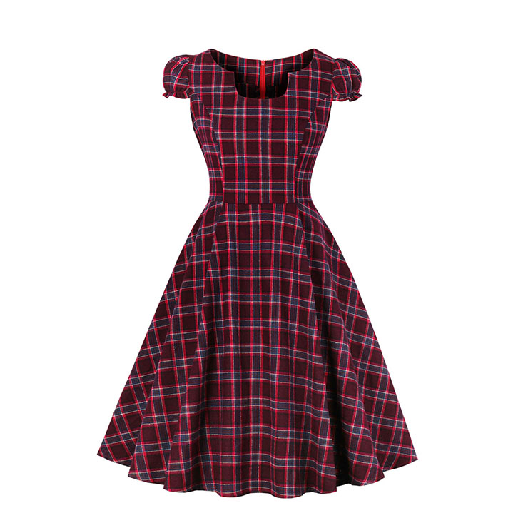 Vintage Puff Sleeves Square Neckline Red Plaid High Waist Tartan Christmas Midi Dress N18379