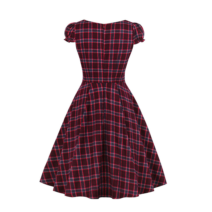 Vintage Dress for Women Red Plaid, Christmas Dresses for Women Cocktail Party, Casual Swing Dress, Short Sleeves High Waist Swing Dress, Christmas Tartan Dress, Christmas Party Dress, #N18379