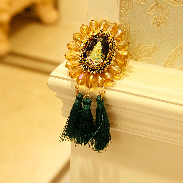 Vintage Christmas Tree Badge with Beads and Tassel Brooch J18613