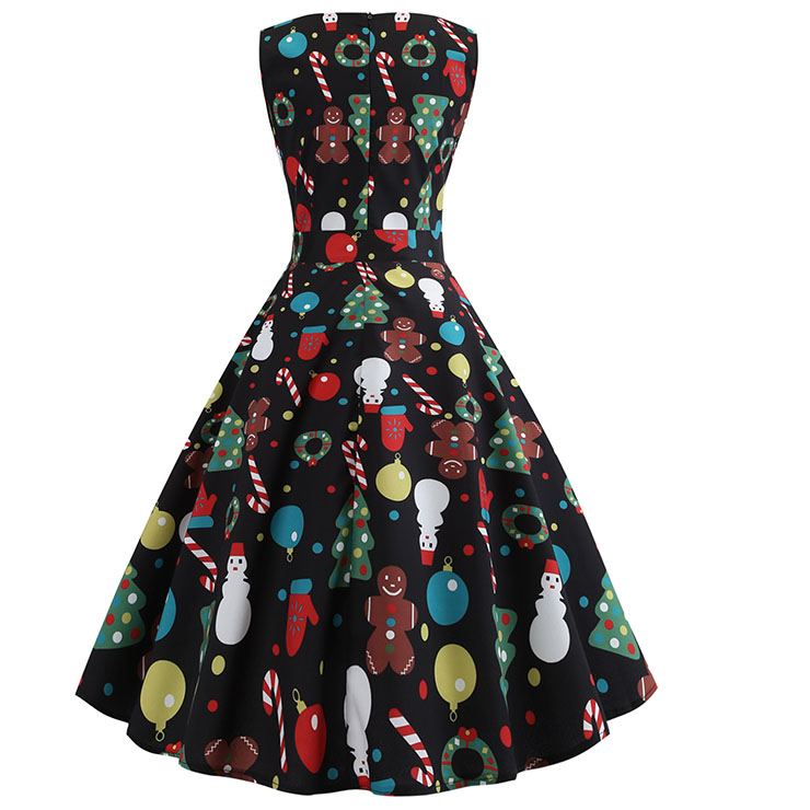 Vintage Dress for Women Black, Christmas Dresses for Women Cocktail Party, Casual Swing Dress, Sleeveless Swing Dress, Christmas Socks Print Dress, Christmas Party Dress, #N18569