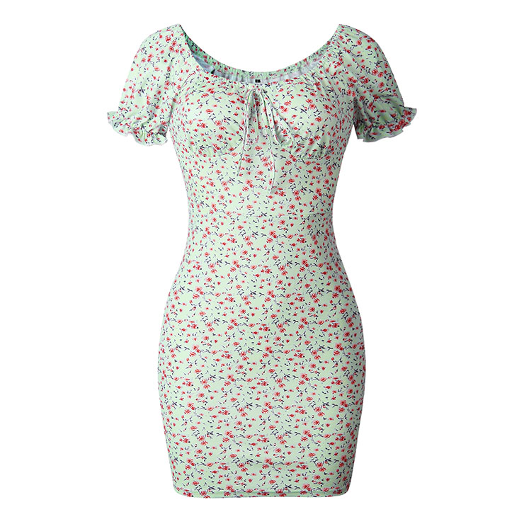 Sexy Green Floral Print Off Shoulder Lace-up Short Sleeve  Backless Mid Waist Summer Dress N21098
