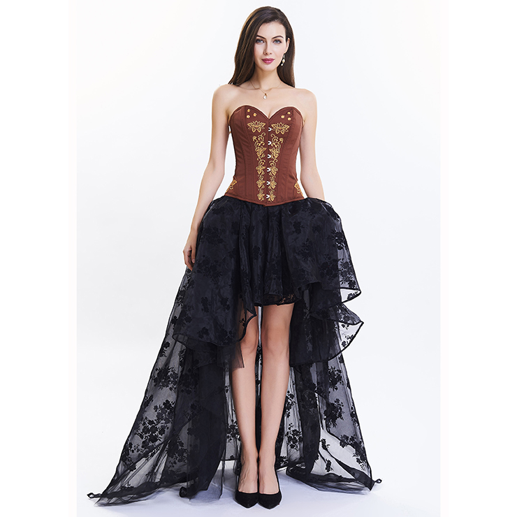 Women's Vintage Floral Embroidery Corset High-low Organza Skirt Set N14953