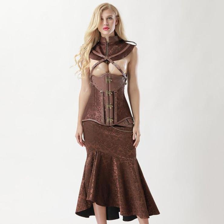 Women's Vintage Brown Steel Boned Faux Leather Jacquard Underbust Corset Skirt Set N15140