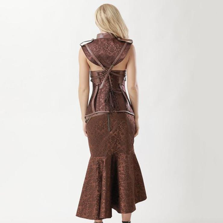ea3df5545 Women's Vintage Brown Steel Boned Faux Leather Jacquard Underbust Corset  Skirt Set N15140