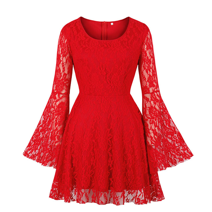 Sexy Gothic Style Solid Red Floral Lace Flared Sleeve High Waist Knee-length Dress N20827